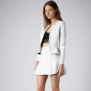 TOPSHOP Women's White Fit and Flare Scuba Skirt